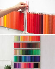 Use colored pencils as wall art - such a colorful walldesign idea /// Benutzt Buntstifte als creative Wandgestaltung - tolle farbenfrohe Design Idee Mur Diy, Diy And Crafts, Arts And Crafts, Decor Crafts, Art Decor, Home Decor, Pinterest Projects, Pinterest Diy, Home And Deco