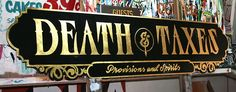 23 karat gold leaf, surface gilded on sign board. This 6 foot long sign is for a new bar in Reno, Nevada. We love gold!!