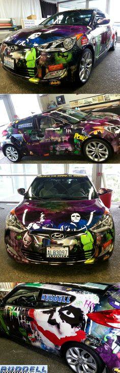 Check out this SWEET wrap from Ruddell Auto! Perfect for any comic book fan!!  Material used: Avery 1005 with Avery 1360 3D Gloss overlaminate and GlowFX glow in the dark accents.