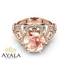 Peach Pink Morganite Engagement Ring in Rose Gold Custom Engagement Ring 2 Carat Morganite Ring Unique Solitaire Ring Rose Gold Morganite Ring, Solitaire Ring, Morganite Engagement, Engagement Rings, 2 Carat, Unique Rings, Jewelry Shop, Peach, Pink