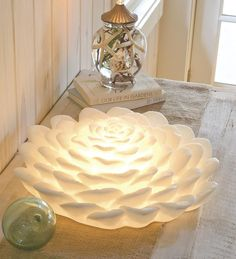 White Lotus Flower Lamp.  Honored for centuries as a symbol of renewal and an object of meditation.
