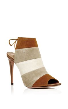 Multicolored Suede Open Back Sandals With Tie by AQUAZZURA Now Available on Moda Operandi