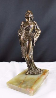 1930s Art Deco Figurine, Jean Harlow in Lingerie, Bronze Finish on Marble Base F