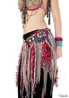 Mermaid Belt, Dancing Belt, Fairy Belt, Fringe Belt, Bellydance Costume, Tribal…