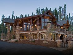 Custom home builder in Colorado showcases rustic mountain home.
