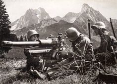 History: World War II: Above shows swiss soldiers in battle during World War II. The swiss government had allowed 150,000 refugees into the country during the war and mainly stayed neutral.
