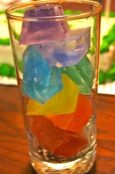 rainbow ice cubes - happy hooligans - fun drink for St. Patrick's Day