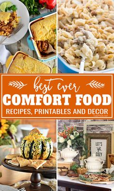 It's Fall!! Comfort food season and we've got you covered with theBEST EVER COMFORT FOOD MEAL PLAN. Full of delicious, hearty and comforting recipes that your family will absolutely love. Everything fromMacaroni and Cheese, Chicken Pot Pie, and Soups to Pumpkin and Apple Desserts.....we have you covered. There are some fun fall printables and party ideas, too. at TidyMom.net