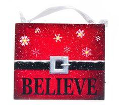 Santa Claus Belt~ Believe~ Santa's Black Belt~ Red and Black Christmas Decor~ Christmas White Snowflakes~ Gift for Teacher~ Gift for Mom