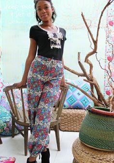 Housut SK 5-6/14. Amy Butler, Closet Designs, Sewing Tutorials, Parachute Pants, Harem Pants, Cute, Pattern, How To Wear, Fabrics