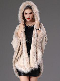 94c771fe95318 Hooded Winter Coat Faux Fur Open Front Cotton Cape Coat For Women-No.4