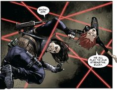 Bucky and Nat dodging lasers. Marvel Rpg, Marvel Avengers, Marvel Comics, Black Widow Red Room, Black Widow Marvel, Bucky And Natasha, Black Widow Winter Soldier, Superfamily Avengers, Phil Coulson