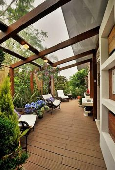 Small Covered Patio Ideas 4 - HomeCoach Though old inside concept, the pergola has been Pergola Attached To House, Pergola With Roof, Patio Roof, Backyard Patio, Yard Landscaping, Landscaping Ideas, Terrasse Design, Patio Design, House Design