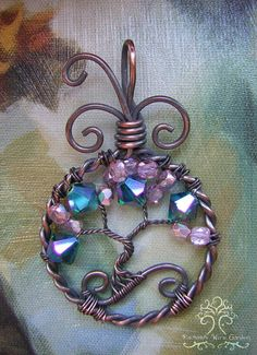 Swarovski Crystal Tree of Life Wire Wrapped Pendant Jewelry Pink Green Copper