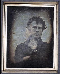 Robert Cornelius 1839 portrait - The Dutch-born US chemist was a pioneer in the daguerreian light process which created one-off photographs that were like portrait paintings as the sitter had to remain still for long periods of time. This photograph Cornelius took of himself with his arms crossed is widely regarded as one of the oldest examples of photographic portraits. It's also a self-portrait or as we know them today, a selfie.