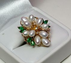 Diamond Pearl Emerald 14k Dinner/Cocktail Ring - Hallmarked