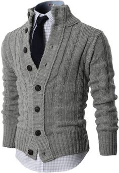 Fashion Mode, Look Fashion, Mens Fashion, Fashion Outfits, Fashion Ideas, Strick Cardigan, Sweater Cardigan, Men Sweater, Chunky Cardigan