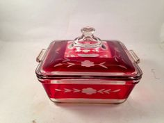 Rare! Vintage Pyrex Cranberry Etched Glass Covered Casserole Dish No Reserve!