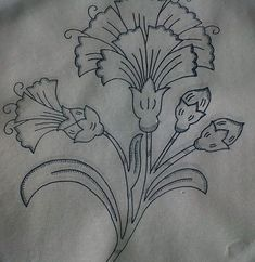 Border Embroidery Designs, Floral Embroidery Patterns, Embroidery Motifs, Quilting Designs, Hawaiian Quilt Patterns, Hawaiian Quilts, Zardozi Embroidery, Outline Drawings, Fabric Painting