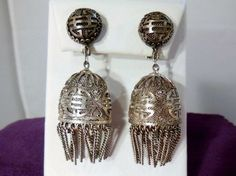 Vintage-Chinese-Lantern-Silver-Filigree-Clip-On-Earrings$212
