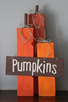 Set of 3 Wooden Pumpkins/Fall by HouseDecorAndMore on Etsy