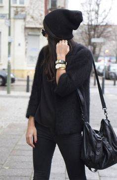 Black on black on black fall winter outfit chic casual