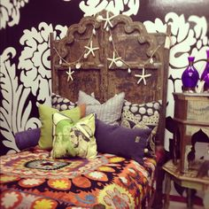 love the seashells on the headboard...and the deep purple pillowcases...thatbohemiangirl.tumblr.com