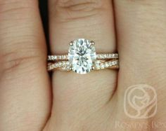 Hillary 9x7mm & Twyla 14kt Rose Gold Oval F1- Moissanite and Diamond Basket Wedding Set (Other metals and stones available)