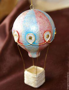 """Ёлочная игрушка """"Воздушный шар"""" - Папье-маше,воздушный шар,ёлочные игрушки"""