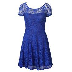 New Summer Women Floral Lace Dress Short Sleeve O-Neck Casual Mini Dresses S M L XL
