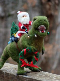 RESERVED - Needle Felted T-Rex Dinosaur and Santa Claus - Needle Felted T Rex Wool Father Christmas And Animal Soft Sculpture