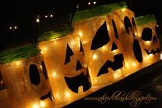 glowing jack O'Lanterns made with recycled glass jars (I have enough jars to make a TON of these :) So, I was…