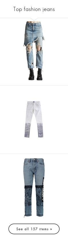 """""""Top fashion jeans"""" by janjanzira-1 ❤ liked on Polyvore featuring jeans, pants, women, blue denim jeans, denim jeans, torn jeans, distressed denim jeans, destructed jeans, slim cut jeans and slim fit jeans"""