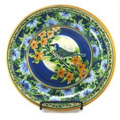 Blue Porcelain Platter Large Floral Round Ceramic by SandyKreyer