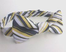 Boys Bow Tie- White, Grey and Citron Yellow Striped - Sizes newborn-adult