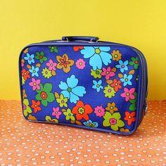 vintage floral suitcase 60s pattern