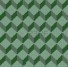 seamless pattern of green knitted cubes