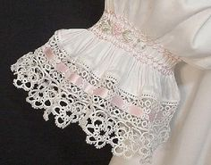 Diane (sdkent) - Heirloom Sewing and Smocking - pretty detail on this sleeve Sewing For Kids, Baby Sewing, Sewing Hacks, Sewing Crafts, Little Girl Dresses, Girls Dresses, Smocks, Baby Gown, Tatting Lace