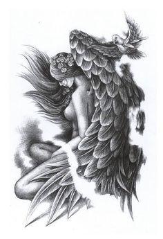 Sleeve Tattoos For Women Best Trendy Neck Tatto, Tattoos Skull, Body Art Tattoos, Tattoo Art, Sleeve Tattoos For Women, Tattoos For Guys, Fallen Angel Tattoo, Gothic Angel, Angel Artwork