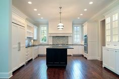 White Kitchen Cabinets with Black