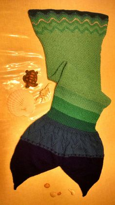 "Mermaid Tail Blanket~ Hand knitted. Inspired by ""Catch a Wave"" (vogueknitting), ""Wavy Stockinette"" (craftcookie) & Sweater Yoke Pattern (handmadenatasha.blogspot.ru), all posts on Pinterest."