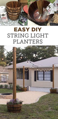 DIY String Light Planters – Planters – Ideas of Planters – DIY String Light Planters Tutorial backyard landscaping landscaping garden landscaping Outside Living, Outdoor Living, Outdoor Decor, Outdoor Patio Lighting, Diy Outdoor Furniture, Patio Lighting Ideas Diy, Rustic Furniture, Modern Furniture, Porch Lighting