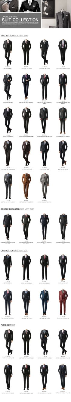Style | Men's #Suit Collection......... Men's one button suits, Men's two #button suits, Men's side vent suits, #Men's single breasted suits, Men's double breasted suits, Men's plus size suits ....... Fine Suit with right length and perfect shoulder fit is must have item for men!