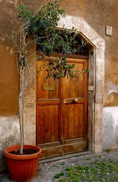 beautiful doorway in Rome, Italy Grand Entrance, Entrance Doors, Doorway, Door Entry, Old Doors, Windows And Doors, Gates, When One Door Closes, Rome Italy