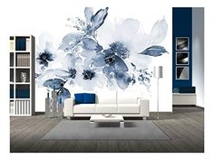 Large Wall Mural Watercolor Style Ink Painting Pink Cherry Blossom on Vintage Wall Background Vinyl Wallpaper Removable Wall Decor - Wall Murals Watercolor Walls, Watercolor Wallpaper, Home Wallpaper, Vinyl Wallpaper, Mural Floral, Flower Mural, Large Wall Murals, Removable Wall Murals, Vintage Walls