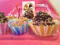 Cajitas de fresas y cerezas cubiertas de chocolate !
