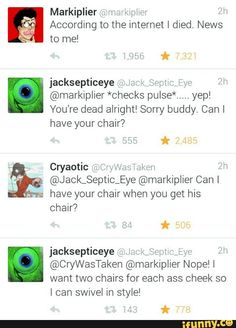 markiplier, jacksepticeye, cryaotic<<< The conversation between youtubers is the stuff of LEGEND