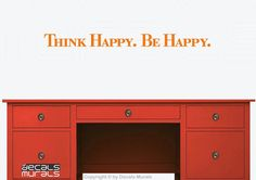 Wall decals Think HAPPY. Be HAPPY. Vinyl lettering by decalsmurals