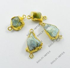 5Pc Natural Aquamarine Brass Gold Electroplated Wholesale Lot Connectors Jewelry #Shining_Gems #Connectors #Jewelry #gemstone