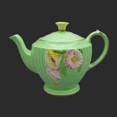 Rare Royal Winton Grimwades Art Deco Teapot With Flowers, Vintage Molded Ware Yellow Flowers, 1940s, Tea Pots, Art Deco, Vintage Teapots, Jade Green, Bright Green, High Tea, Teacups